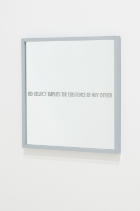 Ian Burns No object implies the existence of any other (Hume's mirror), 1967. Mirror with synthetic polymer painted text, wood, 53 x 53 cm. State Art Collection, Art Gallery of Western Australia. Purchased 1988.